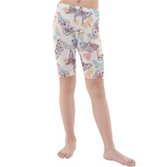 Pattern-with-hand-drawn-butterflies Kids  Mid Length Swim Shorts