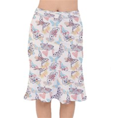 Pattern-with-hand-drawn-butterflies Short Mermaid Skirt by Vaneshart