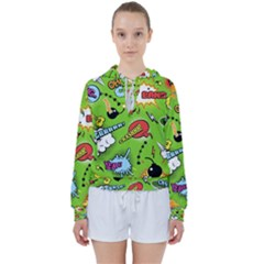 Modern-comics-background-pattern-with-bombs-lightening-jagged-clouds-speech-bubbles Women s Tie Up Sweat