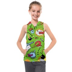 Modern-comics-background-pattern-with-bombs-lightening-jagged-clouds-speech-bubbles Kids  Sleeveless Hoodie