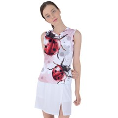 Ladybugs-pattern-texture-watercolor Women s Sleeveless Sports Top by Vaneshart