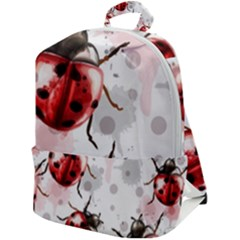 Ladybugs-pattern-texture-watercolor Zip Up Backpack