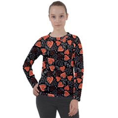 Seamless-vector-pattern-with-watermelons-hearts-mint Women s Long Sleeve Raglan Tee