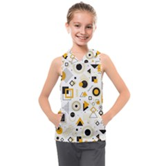 Flat-geometric-shapes-background Kids  Sleeveless Hoodie