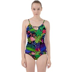 Tropical-exotic-colors-seamless-pattern Cut Out Top Tankini Set