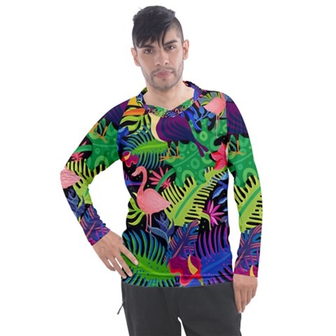 Tropical-exotic-colors-seamless-pattern Men s Pique Long Sleeve Tee by Vaneshart
