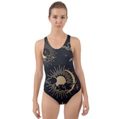 Asian-set-with-clouds-moon-sun-stars-vector-collection-oriental-chinese-japanese-korean-style Cut-out Back One Piece Swimsuit