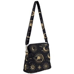 Asian-set-with-clouds-moon-sun-stars-vector-collection-oriental-chinese-japanese-korean-style Zipper Messenger Bag by Vaneshart