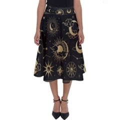 Asian-set-with-clouds-moon-sun-stars-vector-collection-oriental-chinese-japanese-korean-style Perfect Length Midi Skirt