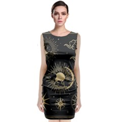 Asian-set-with-clouds-moon-sun-stars-vector-collection-oriental-chinese-japanese-korean-style Sleeveless Velvet Midi Dress by Vaneshart