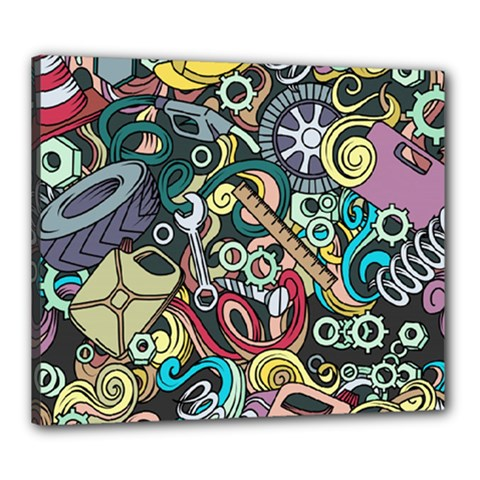 Cartoon-cute-doodles-hand-drawn-auto-service-seamless-pattern Canvas 24  X 20  (stretched)