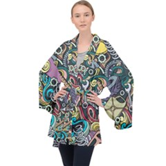 Cartoon-cute-doodles-hand-drawn-auto-service-seamless-pattern Long Sleeve Velvet Kimono