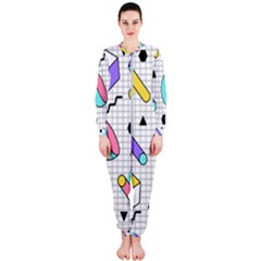 Tridimensional-pastel-shapes-background-memphis-style Onepiece Jumpsuit (ladies)  by Vaneshart