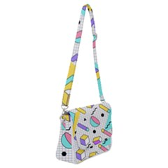 Tridimensional-pastel-shapes-background-memphis-style Shoulder Bag With Back Zipper
