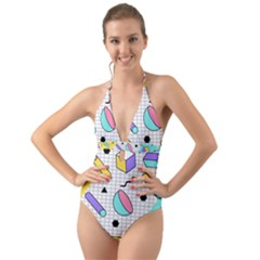 Tridimensional-pastel-shapes-background-memphis-style Halter Cut-out One Piece Swimsuit by Vaneshart