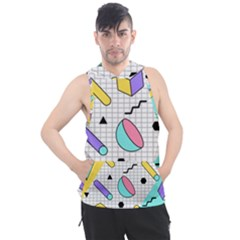 Tridimensional-pastel-shapes-background-memphis-style Men s Sleeveless Hoodie