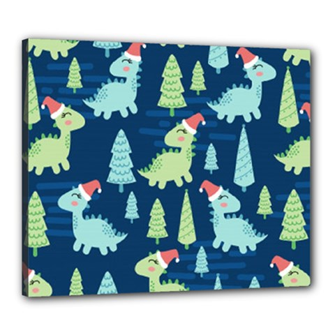 Cute-dinosaurs-animal-seamless-pattern-doodle-dino-winter-theme Canvas 24  X 20  (stretched)