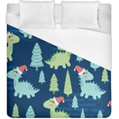 Cute-dinosaurs-animal-seamless-pattern-doodle-dino-winter-theme Duvet Cover (king Size) by Vaneshart