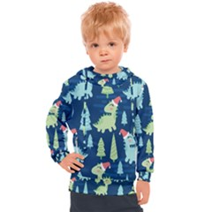Cute-dinosaurs-animal-seamless-pattern-doodle-dino-winter-theme Kids  Hooded Pullover