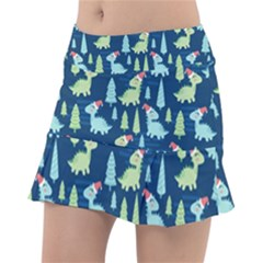 Cute-dinosaurs-animal-seamless-pattern-doodle-dino-winter-theme Tennis Skorts by Vaneshart