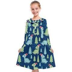 Cute-dinosaurs-animal-seamless-pattern-doodle-dino-winter-theme Kids  Midi Sailor Dress