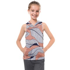 Floral-seamless-pattern-with-leaves-tropical-background Kids  Sleeveless Hoodie