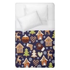 Winter-seamless-patterns-with-gingerbread-cookies-holiday-background Duvet Cover (single Size)