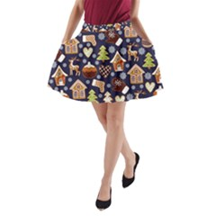 Winter-seamless-patterns-with-gingerbread-cookies-holiday-background A-line Pocket Skirt
