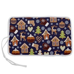 Winter-seamless-patterns-with-gingerbread-cookies-holiday-background Pen Storage Case (s)