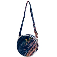 Liquid-abstract-paint-texture Crossbody Circle Bag