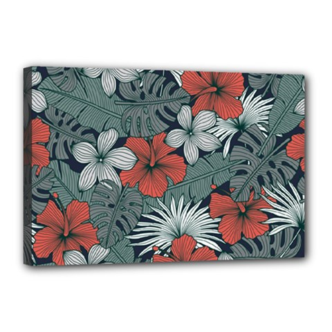 Seamless-floral-pattern-with-tropical-flowers Canvas 18  X 12  (stretched)