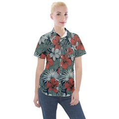 Seamless-floral-pattern-with-tropical-flowers Women s Short Sleeve Pocket Shirt