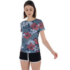 Seamless-floral-pattern-with-tropical-flowers Back Circle Cutout Sports Tee