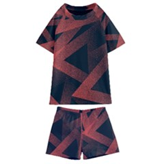 Stippled Seamless Pattern Abstract Kids  Swim Tee And Shorts Set