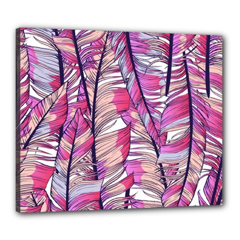 Beautiful-boho-seamless-pattern-with-pink-feathers Canvas 24  X 20  (stretched)