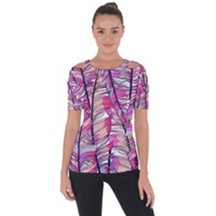 Beautiful-boho-seamless-pattern-with-pink-feathers Shoulder Cut Out Short Sleeve Top