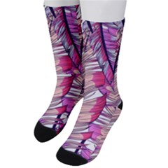 Beautiful-boho-seamless-pattern-with-pink-feathers Men s Crew Socks