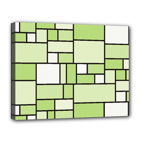Green-geometric-digital-paper Canvas 14  X 11  (stretched)