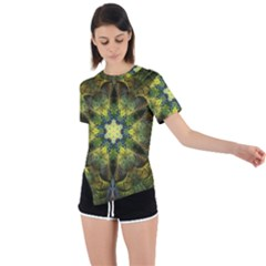Fractal Fantasy Design Background Asymmetrical Short Sleeve Sports Tee