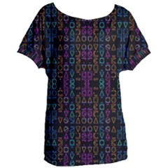 Neon Geometric Seamless Pattern Women s Oversized Tee