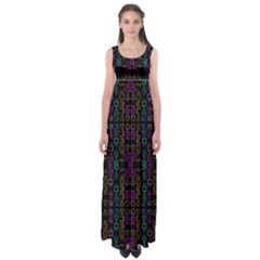 Neon Geometric Seamless Pattern Empire Waist Maxi Dress