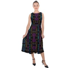 Neon Geometric Seamless Pattern Midi Tie-back Chiffon Dress