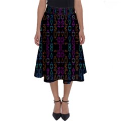 Neon Geometric Seamless Pattern Perfect Length Midi Skirt