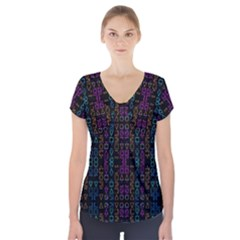 Neon Geometric Seamless Pattern Short Sleeve Front Detail Top
