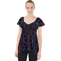 Neon Geometric Seamless Pattern Lace Front Dolly Top