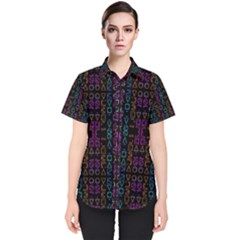 Neon Geometric Seamless Pattern Women s Short Sleeve Shirt