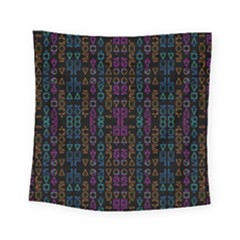 Neon Geometric Seamless Pattern Square Tapestry (small)