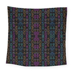 Neon Geometric Seamless Pattern Square Tapestry (large)