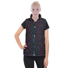 Neon Geometric Seamless Pattern Women s Button Up Vest