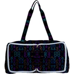 Neon Geometric Seamless Pattern Multi Function Bag